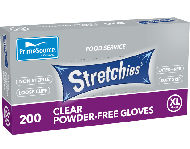 Stretchies Powder-free Disposable Plastic Gloves (Clear, Extra Large)